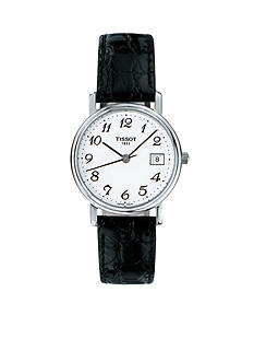 Tissot Desire Ladies White Quartz Watch with Black Leather Strap