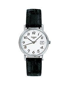 Tissot Desire Ladies White Quartz Watch with Black Leather Strap