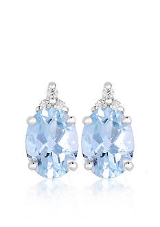Belk & Co. 10k White Gold Aquamarine and Diamond Earrings