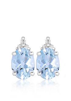 Belk & Co. 10k White Gold Aquamarine and Diamond Earrings