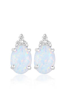 Belk & Co. 10k White Gold Created Opal and Diamond Earrings