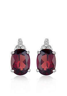 Belk & Co. 10k White Gold Garnet and Diamond Earrings