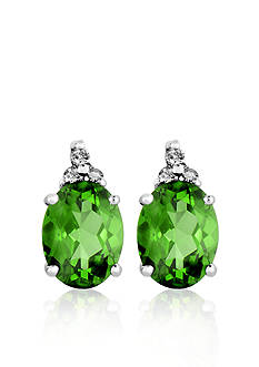 Belk & Co. 10k White Gold Peridot and Diamond Earrings