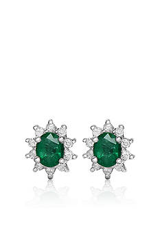 Belk & Co. 14k White Gold Emerald and Diamond Earrings