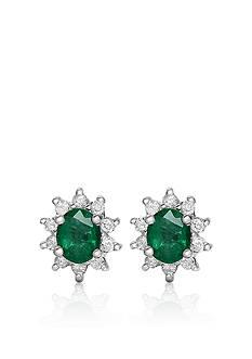 Belk & Co. 14k White Gold Emerald and Diamond Earrings