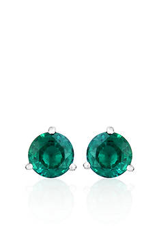Belk & Co. Sterling Silver Created Emerald Stud Earrings