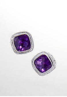 Belk & Co. Sterling Silver Cushion Amethyst Earrings