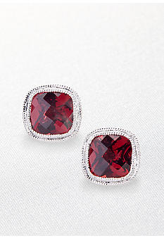 Belk & Co. Sterling Silver Garnet Earrings