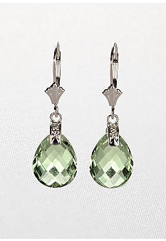 Belk & Co. 10k White Gold Green Amethyst and Diamond Leverback Earrings