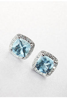 Belk & Co. 14k Whte Gold Aquamarine and Diamond Earrings
