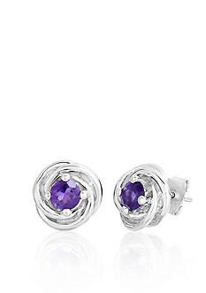Belk & Co. Sterling Silver Amethyst Knot Earrings
