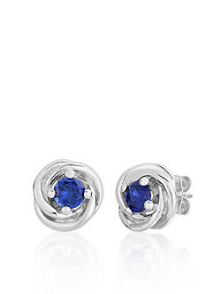 Belk & Co. Sterling Silver Created Sapphire Knot Earrings