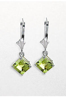 Belk & Co. 10k White Gold Peridot Leverback Earrings
