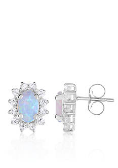 Belk & Co. Created Opal and White Topaz Earrings in 10k White Gold