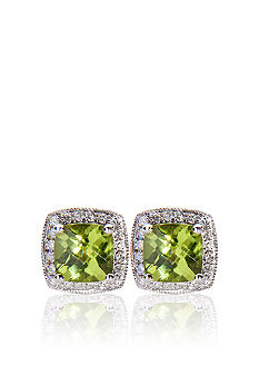 10k White Gold Peridot and Diamond Earrings