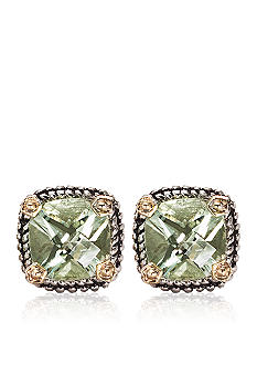 Belk & Co. Sterling Silver and 14K Gold Green Amethyst Earring