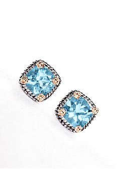 Belk & Co. Sterling Silver and 14k Gold Blue Topaz Earring