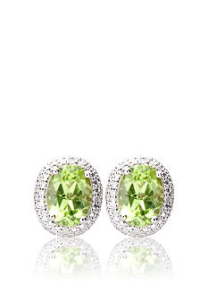 Belk & Co. Sterling Silver Peridot Diamond Earrings