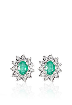 Belk & Co. Sterling Silver Emerald and Diamond Earrings