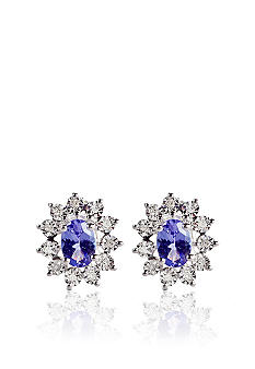 Belk & Co. Sterling Silver Tanzanite and Diamond Earrings
