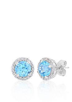 Belk & Co. 10k White Gold Blue and White Topaz Earrings