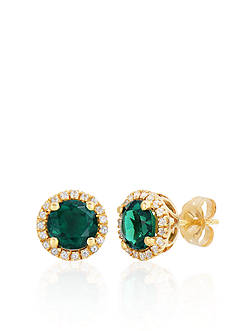 Belk & Co. 10k Yellow Gold Created Emerald and White Topaz Earrings