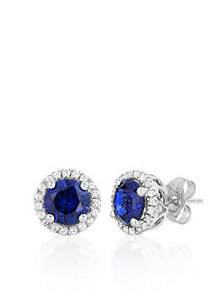 Belk & Co. 10k White Gold Created Sapphire and White Topaz Earrings