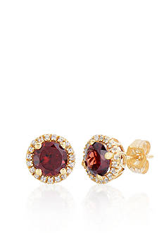 Belk & Co. 10k Yellow Gold Garnet and White Topaz Earrings