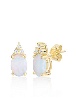 Belk & Co. 10k Yellow Gold Created Opal and White Topaz Earrings
