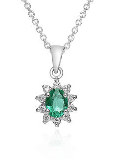 Belk & Co. 14k White Gold Emerald and Diamond Pendant