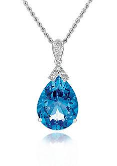 Belk & Co. 14k White Gold Blue Topaz and Diamond Pendant