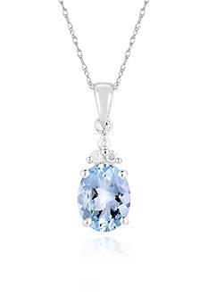 Belk & Co. 10K White Gold Aquamarine and Diamond Pendant