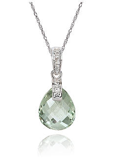 Belk & Co. 10k White Gold Green Amethyst and Diamond Pendant