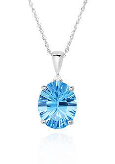 Belk & Co. Sterling Silver Blue Topaz Diamond Pendant