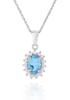 Belk & Co. Blue and White Topaz Pendant in 10k White Gold