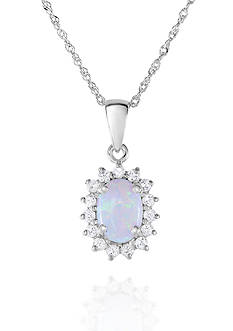 Belk & Co. Created Opal and White Topaz Pendant in 10k White Gold