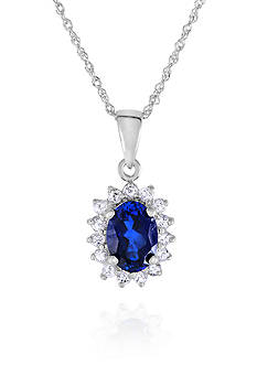 Belk & Co. Sapphire and White Topaz Pendant in 10k White Gold