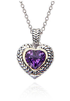 Belk & Co. Sterling Silver and 14k Gold Amethyst Pendant