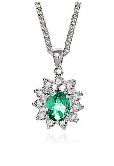Belk & Co. Sterling Silver Emerald and Diamond Pendant