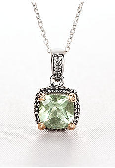Belk & Co. Sterling Silver and 14k Gold Green Amethyst Pendant
