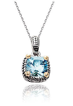 Belk & Co. Sterling Silver and 14K Gold Blue Topaz Pendant
