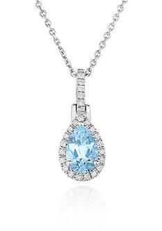 Belk & Co. Sterling Silver Aquamarine and Diamond Pendant