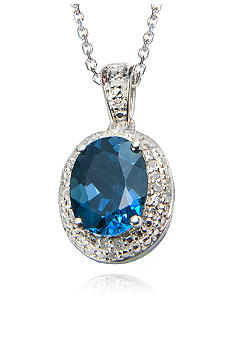 Belk & Co. Sterling Silver London Blue Topaz and Diamond Pendant