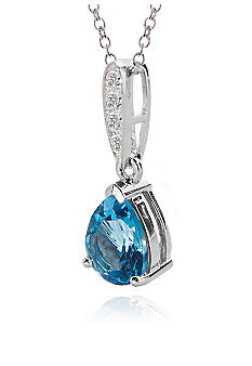 Belk & Co. Sterling Silver Blue Topaz and Diamond Pendant
