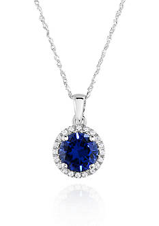 Belk & Co. 10k White Gold Created Sapphire and White Topaz Pendant