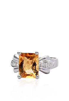 Belk & Co. Sterling Silver Citrine and Diamond Ring