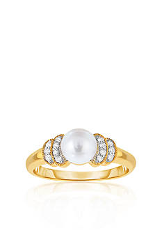 Belk & Co. 10k Yellow Gold Freshwater Pearl and Diamond Ring