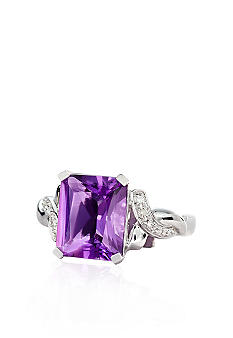 Belk & Co. 10k White Gold Amethyst and Diamond Ring