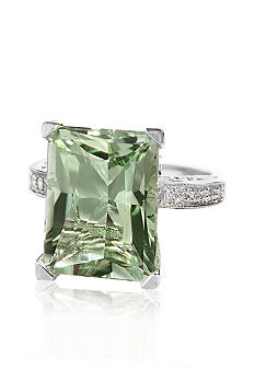 Belk & Co. Sterling Silver Green Amethyst and Diamond Ring