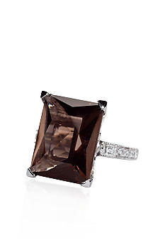 Belk & Co. Sterling Silver Smoky Quartz and Diamond Ring